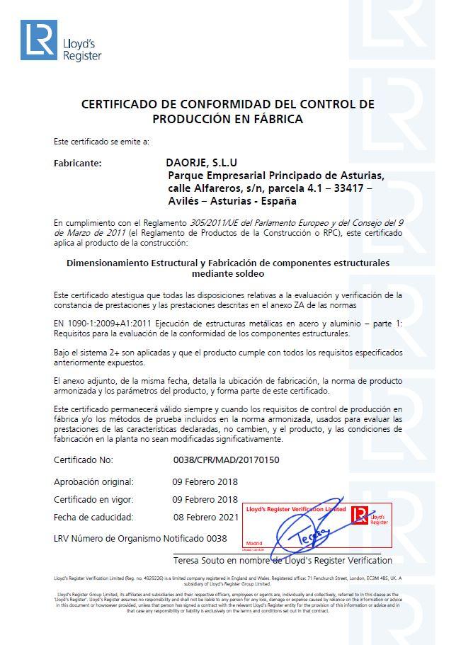 Daorje obtiene la certificación 1090