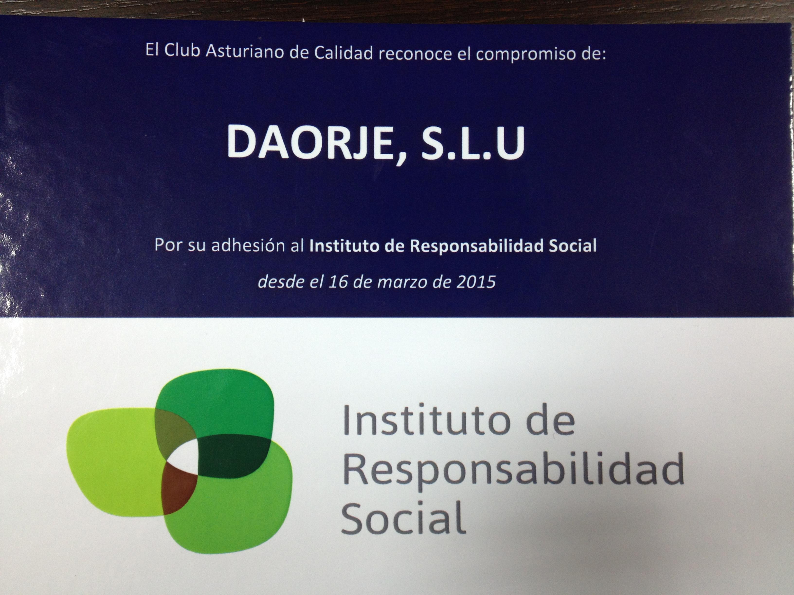 El Instituto de Responsabilidad Social nos entrega diploma de reconocimiento